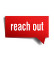 reach out red 3d speech bubble vector image vector image