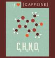 retro poster of caffeine molecule vector image vector image