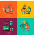 Science concept 4 flat icon composition icons vector image vector image