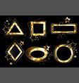 set polygonal golden banners vector image