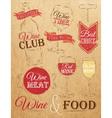 Set Wine chalk Kraft vector image vector image