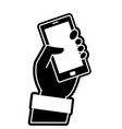 silhouette hand with smartphone technology object vector image vector image