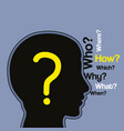 silhouette human head with a lot of questions vector image vector image