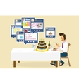 Social networking and birthday vector image vector image
