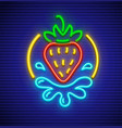 strawberry neon sign for sex vector image vector image