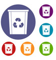 trash bin with recycle symbol icons set vector image vector image