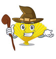 witch folding fan the shape wooden mascot vector image