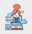 woman social network media connection vector image