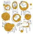 Bull cat dog goat horse monkey pig sheep vector image
