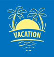 logo sun palm trees sea vector image