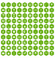 100 stadium icons hexagon green vector image vector image