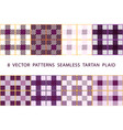 8 patterns seamless tartan plaid violet purple vector image