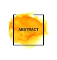 Abstract yellow watercolor splash with square vector image vector image