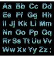 Alphabet blue letters on a black background vector image