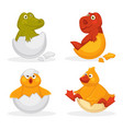 baby animals hatch eggs or cartoon pets hatching vector image vector image
