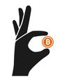 bitcoin hold by hand vector image vector image