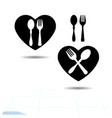 black cutlery icon set in heart shape fork and vector image