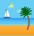 Boat on beach with palm and clouds