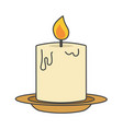 burning candle on beige plate flat design icon vector image vector image