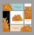 business cards design funny fox family vector image vector image