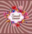 candy sweet shop template set of different colors vector image