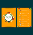 cartoon mexican food cafe restaurant menu vector image