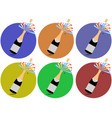 champagne cork flying out of a bottle icons vector image vector image