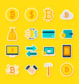 currency bitcoin stickers vector image