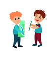 cute little boys characters standing with vector image vector image