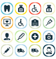 drug icons set with medical sign crutch brougham vector image vector image