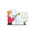 female character searching for labyrinth exit plan vector image