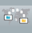 file transfer two laptops with folders on screen vector image