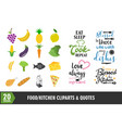 Food icon and quote graphic design set