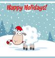 funny christmas sheep cartoon character vector image