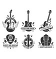 guitar shop badges custom guitars shop emblem vector image