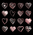 hand drawn rose gold gradient hearts vector image vector image