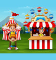 happy people in the amusement park vector image vector image