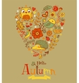 Hello Autumn banner in doodle style vector image vector image
