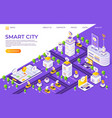 isometric city landing page smart town concept vector image vector image