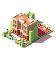 isometric school building vector image vector image
