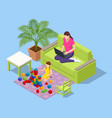 isometric young mother works remotely from home vector image