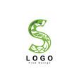 letter s logo with leaf inside it design vector image