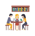 Library Or Bookstore With Students Reading Books vector image vector image