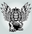 lion aggry king drawing black white wing fly vector image