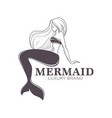mermaid marine brand isolated monochrome icon girl vector image