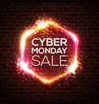 neon sign of cyber monday sale text on brick wall vector image vector image