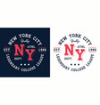 ny college league print for t-shirt design vector image vector image