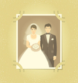 Old Wedding Photo in Family Album vector image vector image