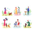 people with pets dog cats fishes birds rabbits vector image