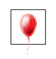 realistic red balloon with lace in frame vector image vector image